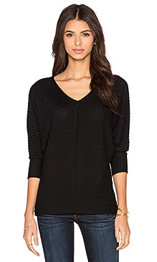Velvet by Graham & Spencer Manalia Rayon Rib Dolman V-Neck Tee in Black