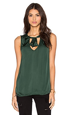 Velvet by Graham & Spencer Shandy Satin Viscose V-Neck Tank in Fairway