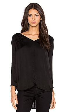 Velvet by Graham & Spencer Traze Satin Viscose V-Neck Long Sleeve Top in Black