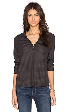 Velvet by Graham & Spencer Viktoria Rayon Rib Hooded Long Sleeve Tee in Dark Grey