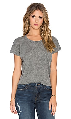 Velvet by Graham & Spencer Alice Crew Neck Front Pocket Tee in Medium Heather Grey
