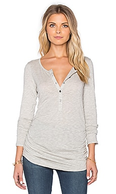 Velvet by Graham & Spencer Alene Gauzy Whisper Classics Half Button Up Long Sleeve Top in Heather Grey
