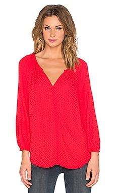Velvet by Graham & Spencer Alissa Damask Rayon Long Sleeve V Neck Top in Punch