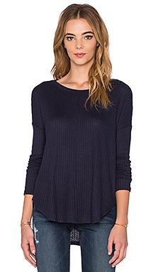 Velvet by Graham & Spencer Belind Thermal Knit Long Sleeve Top in Navy
