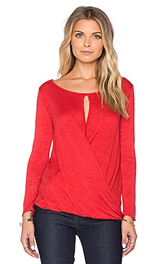 Velvet by Graham & Spencer Carthy Textured Knit Cross Front Top in Glam