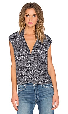 Velvet by Graham & Spencer Cayne Printed Challis Cross Front Tank in Navy & Cream