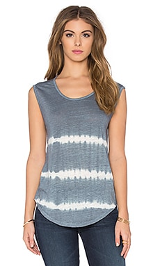 Velvet by Graham & Spencer Alena Tie Dye Stripe Linen Jersey Sleeveless Top in Grey