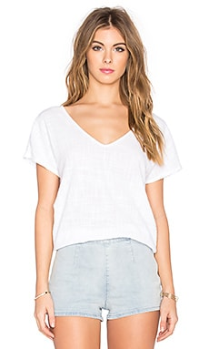 Velvet by Graham & Spencer Bernice Cotton Slub With Contrast V Neck Tee in White
