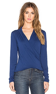 Velvet by Graham & Spencer Meri Gauzy Whisper Classics Cross Front Long Sleeve Top in Equator