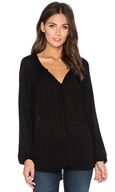 Alize Windowpane Challis with Slub V-Neck Long Sleeve Top in Black