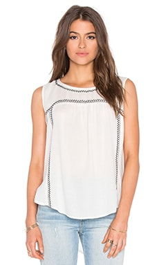 Asera Embroidered Crepe Sleeveless Top in Off White