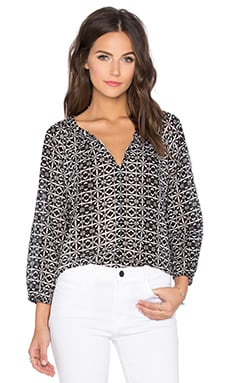 Berlina Printed Cotton Voile V-Neck 3/4 Sleeve Top in Tile