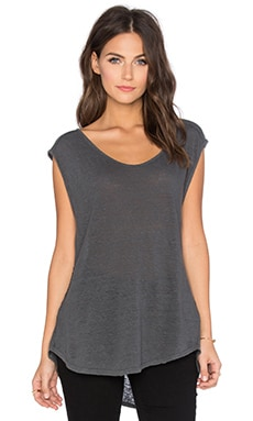 Cortina Linen Slit Scoop Neck Tank in Graphite