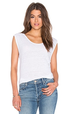 Cortina Linen Slit Scoop Neck Tank en Blanc