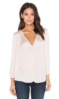 Haven Satin Viscose V-Neck Long Sleeve Top