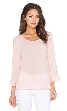 Mira Rayon Challis Long Sleeve Top em Pale Pink