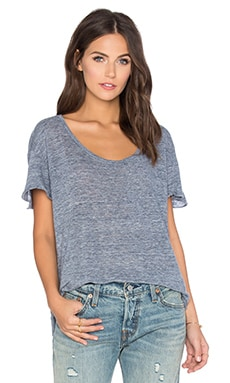 Nichel Linen Scoop Neck Tee in Denim