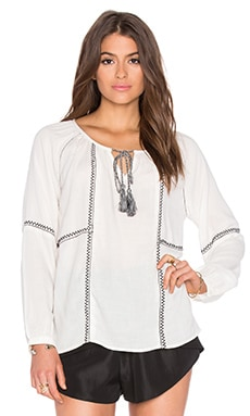 Shavanni Embroidered Crepe Long Sleeve Top in Off White