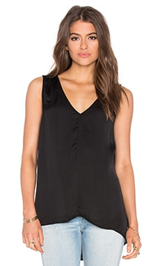 Satin Viscose V-Neck Tank in Black