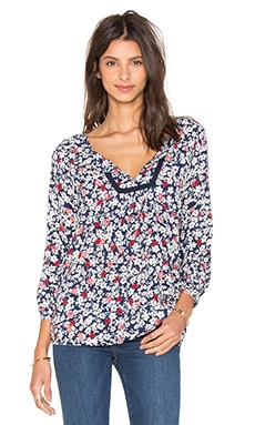 Riveria Dahlia Print Short Sleeve V-Neck Top
