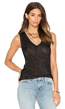 Velvet by Graham & Spencer Arwen Textured Knit V Neck Tank in Black