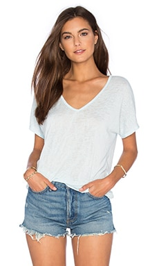 Velvet by Graham & Spencer Daxa Textured Knit V Neck Tee in Bay