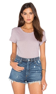 Odelia Cotton Slub Scoop Neck Tee in Bramble