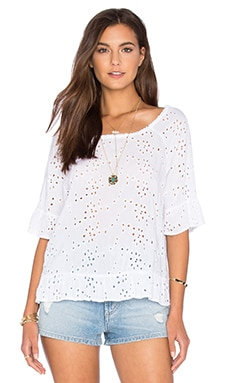 Ricky Rayon Eyelet Short Sleeve Top in White