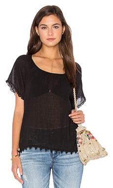 Buttercup Cotton Gauze Top em Preto