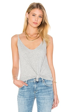 Emmalee Cotton Slub V Neck Tank in Heather Grey