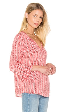 Selda Sheer Printed Gauze Button Down in Redvine
