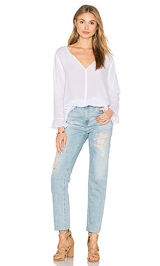 Velvet by Graham & Spencer Azalea Long Sleeve V Neck Top in White