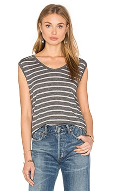 Crimson Sleeveless Scoop Neck Top in Charcoal & Heather