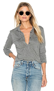 Velvet by Graham & Spencer Dara Long Sleeve Half Button Top in Medium Heather Grey