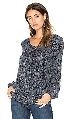 Velvet by Graham & Spencer Keegan Scoop Neck Long Sleeve Blouse in Navy