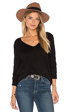 Velvet by Graham & Spencer Sookie Long Sleeve V Neck Top in Black