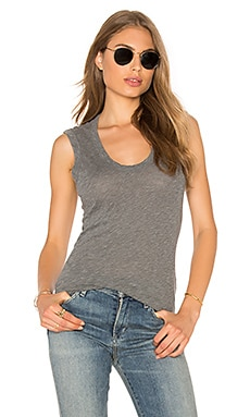 Estina Scoop Neck Tank in Charcoal