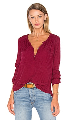 Velvet by Graham & Spencer Cecilia Long Sleeve Half Button Blouse in Lantern