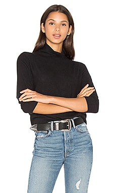 Eada Long Sleeve Turtleneck Top in Black