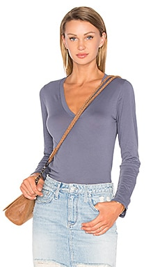 Gracen Long Sleeve V Neck Top in Flint