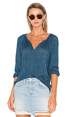 Hugh 3/4 Sleeve V Neck Top in Yacht