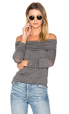Angelica Off Shoulder Top in Charcoal
