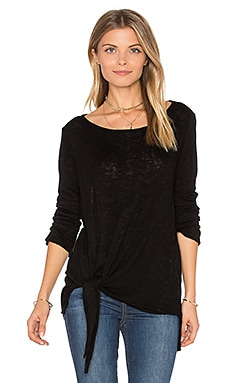 Gwyneth Tie Front Tee in Black