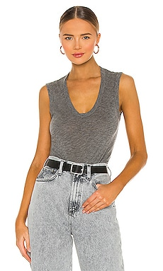 Estina Scoop Neck Tank in Charcoal Grey