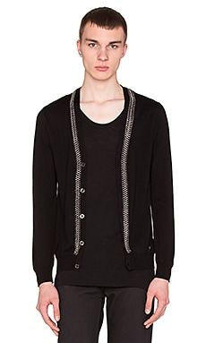 VERSACE Knit Cardigan With Chain Detail in Black