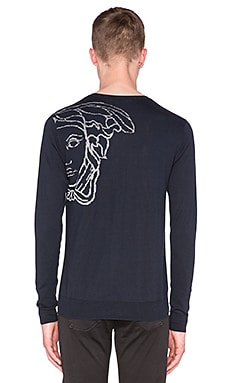 VERSACE Medusa Sweater in Black & Blue