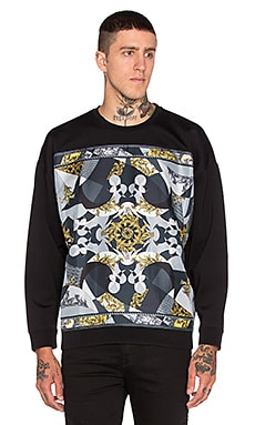 VERSACE Neoprene & Silk Baroque Sweatshirt in Black