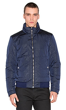 VERSACE Plaid Sheen Down Puffer Coat in Navy