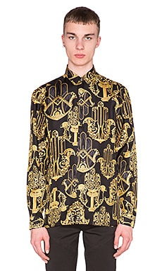 VERSACE Printed Button Down Shirt in Black & Multi