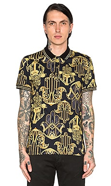 VERSACE Printed Polo in Black & Multi